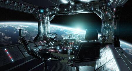 Sala di controllo interna del grunge dell'astronave con sedili e vista sullo spazio 3D rendering Archivio Fotografico