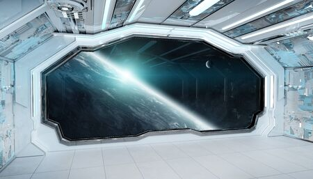 White blue spaceship futuristic interior with window view on planet Earth 3d rendering Stock fotó - 133977768