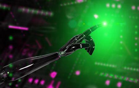 Black and green intelligent robot cyborg arm pointing finger on dark background 3D rendering