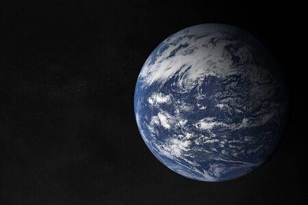 View of planet Earth Atlantic Ocean in space with her atmosphere 3D rendering