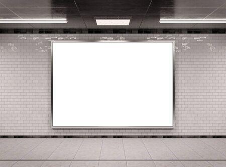 Horizontal A4 underground billboard frame Mockup 3D rendering