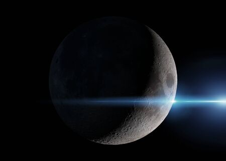 View of a crescent moon in space with stars in the background 3D rendering 版權商用圖片