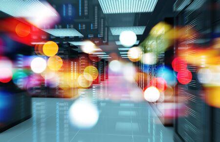 Dark servers data center room with bright bokeh light going through the corridor 3D rendering Zdjęcie Seryjne