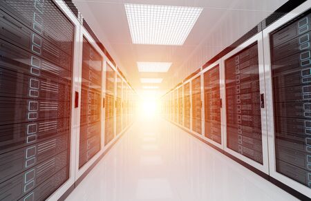 White servers data center room with bright halo light going through the corridor 3D rendering 版權商用圖片