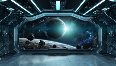 Dark blue spaceship futuristic interior with window view on space and planets 3d rendering 版權商用圖片