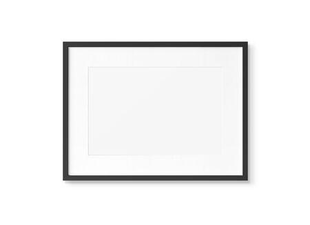 Black rectangular wooden frame on white wall background 3D rendering