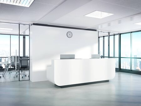 Blank white reception desk in bright concrete office with large windows Mockup 3D rendering