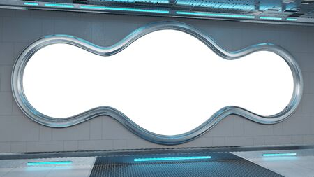 White tech spaceship round window interior with white background 3D rendering Zdjęcie Seryjne