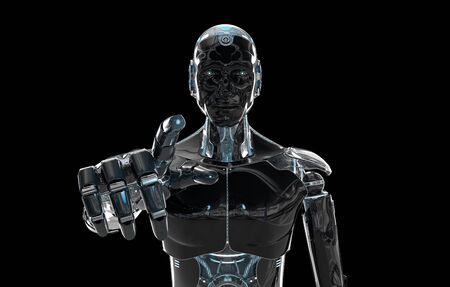 Black and blue intelligent robot cyborg pointing finger on dark background 3D rendering