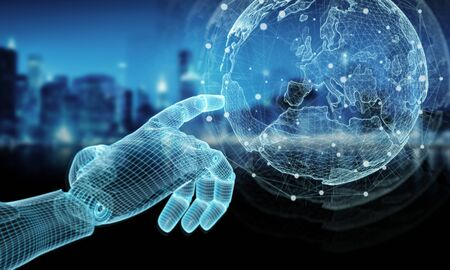 Wireframed blue robot hand touching digital world map on dark background 3D rendering Zdjęcie Seryjne