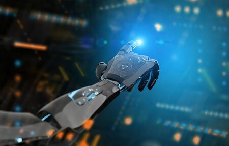 Black and blue intelligent robot cyborg arm pointing finger on dark background 3D rendering 版權商用圖片