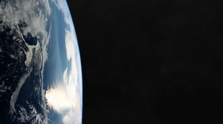 View of blue planet Earth close up with atmosphere during a sunrise 3D rendering 版權商用圖片