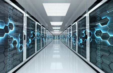 White servers data center room with computers storage systems and hexagonal design 3D rendering