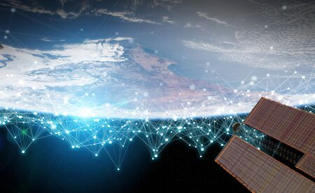 Satellites sending datas exchanges and futuristic connections system over the globe 3D rendering 版權商用圖片