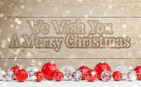 Christmas card greetings with carved wood and red decorations 3D rendering
