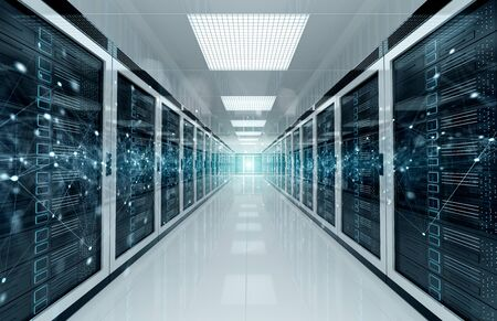 Connection network in white servers data center room storage systems 3D rendering