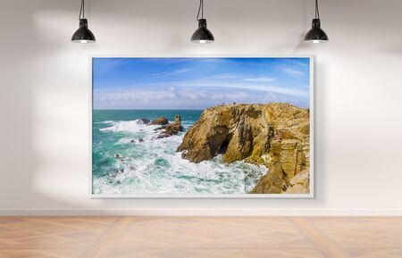 White frame hanging bright white museum with wooden floor mockup 3D rendering