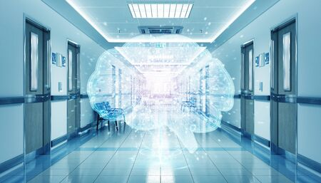 Long hospital blue corridor with digital xray brain floating in dots connections 3D rendering