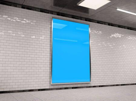 Vertical A4 underground billboard frame Mockup 3D rendering