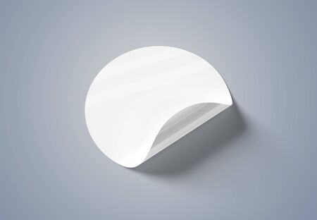 Blank curled sticker mockup isolated on grey background 3D rendering