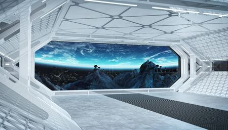 White blue spaceship futuristic interior with window view on space and planets 3d rendering