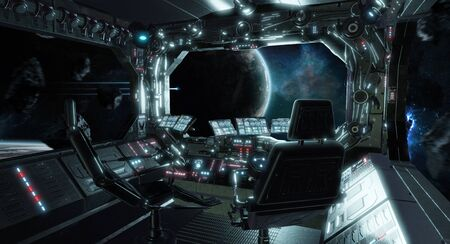 Spaceship grunge interior control room with seats and view on space 3D rendering 版權商用圖片