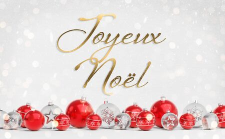 Christmas card greetings with red and white christmas baubles on white background 3D rendering in French