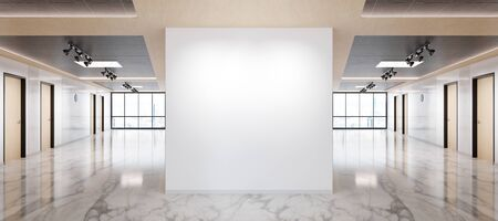 Blank wall in bright marble and wooden office mockup with large windows and sun passing through 3D rendering