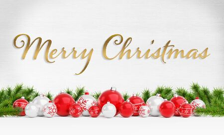Christmas card greetings with red and white christmas baubles on wooden background 3D rendering