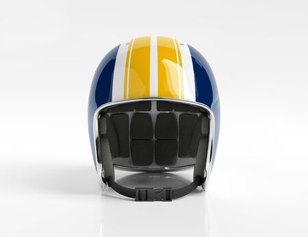 Blue and Yellow retro vintage motorbike helmet isolated on white background Mockup 3D rendering