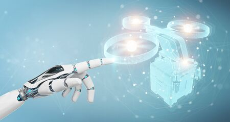 Robot on blurred background holding and touching holographic delivery drone projection in his hand 3D rendering