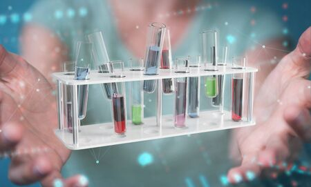 Woman on blurred background holding and touching medical analysis in tubes samples 3D rendering Zdjęcie Seryjne