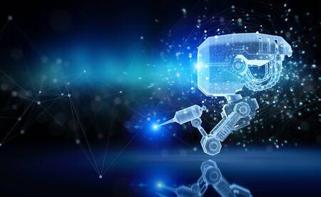 Projection holographique de nanorobot futuriste numérique sur fond bleu rendu 3D Banque d'images