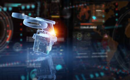 Holographic blue delivery drone projection delivering parcel on dark background 3D rendering