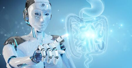 Robot on blurred background using digital x-ray of human intestine holographic scan projection 3D rendering