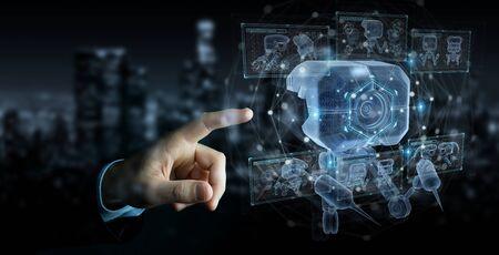 Mężczyzna na ciemnym tle trzymający i dotykający holograficznej projekcji nanorobota z analizą wykresów renderowania 3D