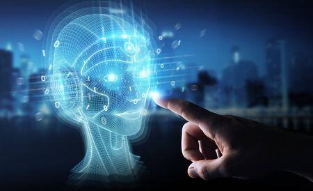 Hombre de negocios sobre fondo oscuro con renderizado 3D de interfaz de cabeza de inteligencia artificial digital