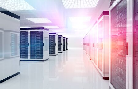 Servers data center room with bright speed light going through the corridor 3D rendering