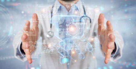 Doctor en fondo borroso sosteniendo y tocando nanorobot futurista con análisis gráfico representación 3D Foto de archivo