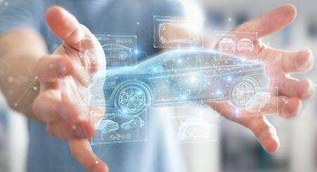 Hombre sobre fondo borroso sosteniendo y tocando la interfaz de coche inteligente holográfica proyección 3D rendering