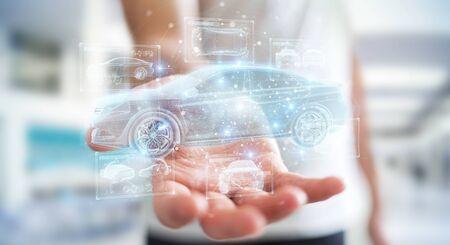 Hombre sobre fondo borroso sosteniendo y tocando la interfaz de coche inteligente holográfica proyección 3D rendering Foto de archivo
