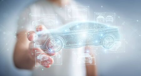 Man on blurred background holding and touching holographic smart car interface projection 3D rendering