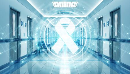 Long hospital blue corridor with digital aids ribbon floating in dots connections 3D rendering