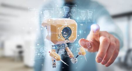 Man on blurred background holding and touching futuristic nanorobot with graph analysis 3D rendering