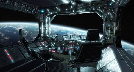 Spaceship grunge interior control room with seats and view on space 3D rendering 写真素材