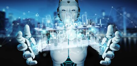 Robot on blurred background holding and touching holographic tubes samples projection 3D rendering