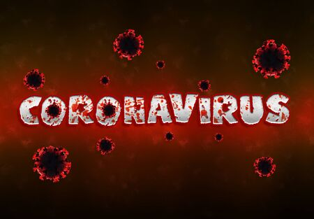 Coronavirus Covid-19 text in red bloody style. New respiratory syndrome disease discovered in 2019 spreading pandemic. 2019-nCoV official name introduced by World Health Organization. 版權商用圖片