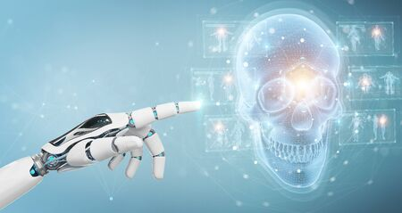 Robot hand on blurred background using digital x-ray skull holographic scan projection 3D rendering