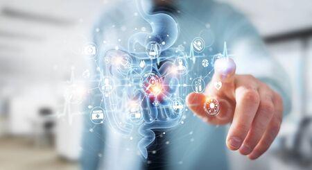 Mann auf unscharfem Hintergrund mit digitaler Röntgenaufnahme der holographischen Scanprojektion des menschlichen Darms 3D-Rendering