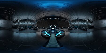 High resolution HDRI panoramic view of a dark blue futuristic landing strip spaceship interior. 360 panorama reflection mapping of a huge shed interior 3D rendering